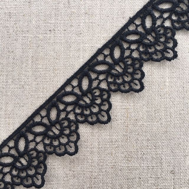 37mm Black Guipure Lace