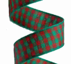 Green and Red Gingham Ribbon 16mm