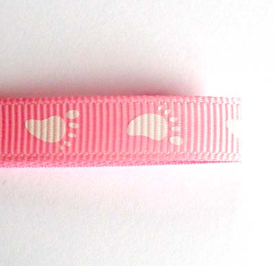 Pink Baby Footprints  Grosgrain Ribbon 10mm
