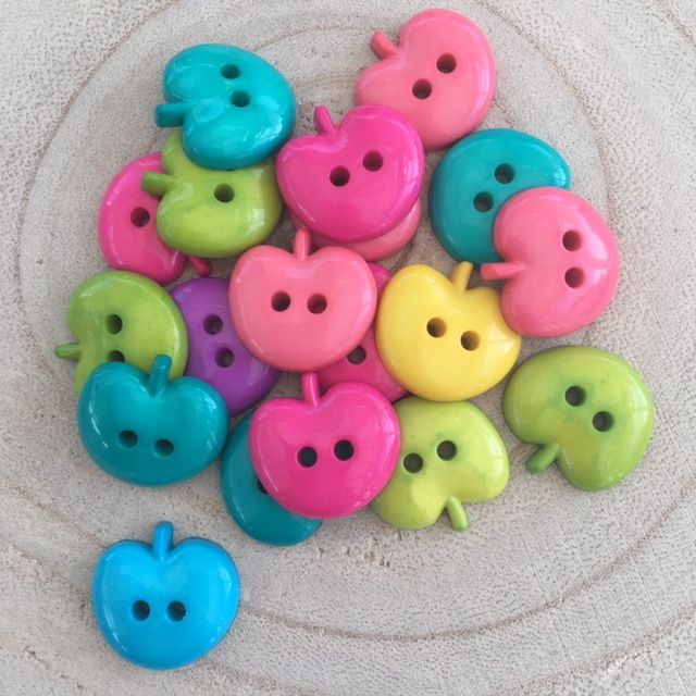 Apple Shaped Buttons in Carnival Bright Colour Pack 10