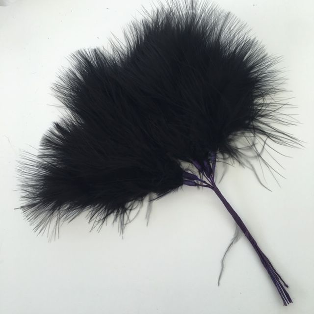 Black Fluffy Marabou  Feather Wired Bunch