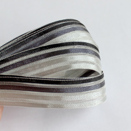 Black/Grey Striped Satin Mesh Ribbon 16mm