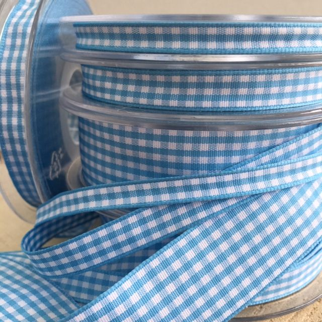 Blue Gingham Check Ribbon
