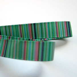 Blue Green Pink Plum Striped Grosgrain 9mm Ribbon - 2 Metres