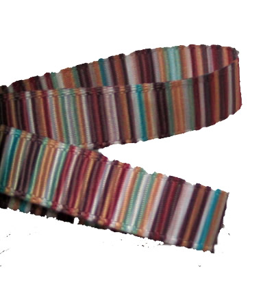 Brown Tan Blue  Striped Grosgrain 9mm Ribbon - 2 Metres