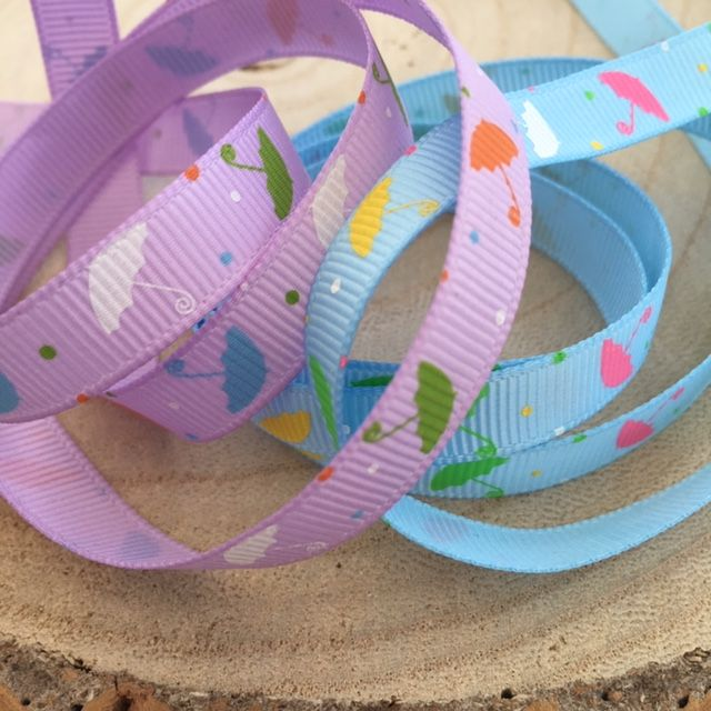 Coloured Umbrella Grosgrain Ribbon