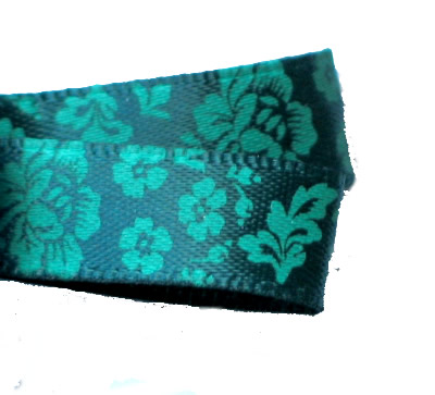 Dark Teal Green Luxury Printed Rose Ribbon