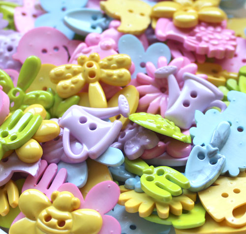 Garden Shaped Pastel Assorted Buttons REDUCED