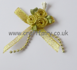 Gold Ribbon Rose Posy with Pearl Trim