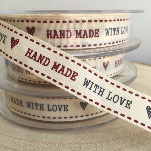 Hand Made With Love Print Design Ribbon