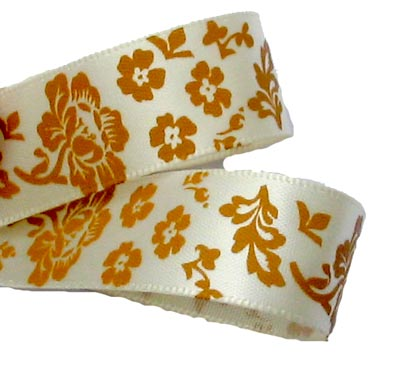 Ivory /Old Gold Luxury Printed Rose Ribbon