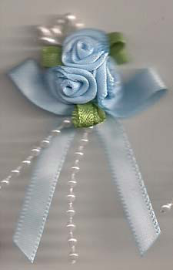 Light Blue Satin Ribbon Rose Posy with Pearl Trim