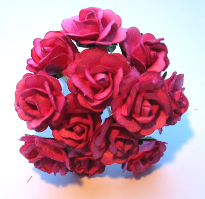 Medium Bright Fuchsia Paper Tea Roses REDUCED