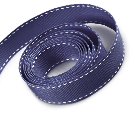 Navy Blue with White Saddle Stitch Grosgrain Ribbon