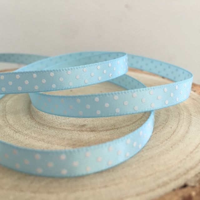 Pale Blue Satin Polka Dot Ribbon
