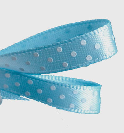 Pale Blue Satin Swiss Dot Ribbon 6mm
