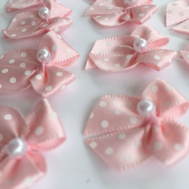 Pale Pink & White Satin Polka Dot Bow with Pearl