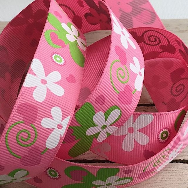 Pink & Green Daisy Grosgrain Ribbon