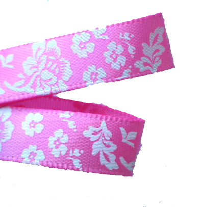 Pink /White Luxury Rose Printed Ribbon