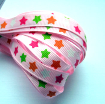Pink with Assorted Coloured Stars Grosgrain Ribbon 9mm