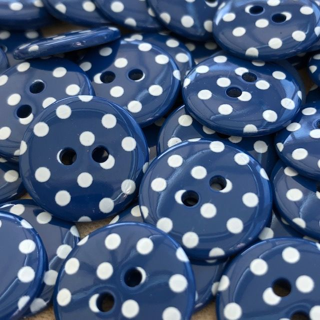 Polka Dot Buttons - Navy Blue & White