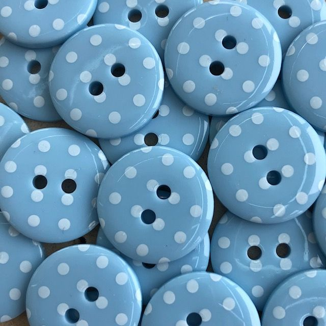 Polka Dot Buttons - Pale Blue & White