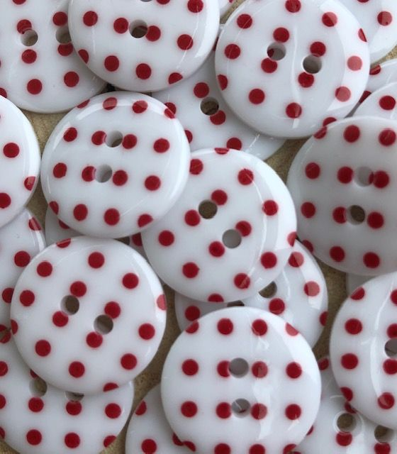 Polka Dot Buttons - White & Red