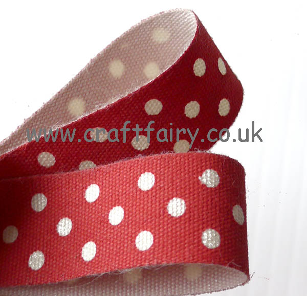 Red Cotton Ribbon with Cream Spots