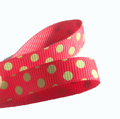 Red & Lime Green Polka Dot Grosgrain Ribbon Clearance