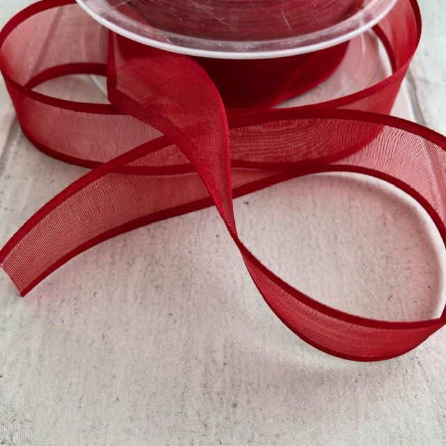 Red Organza Satin Edge Ribbon