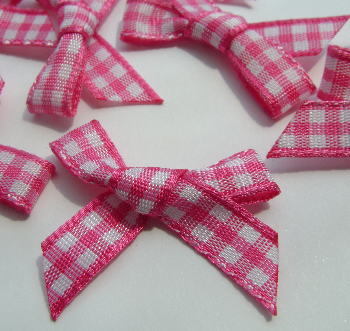 Shocking Pink Gingham Handtied Bows