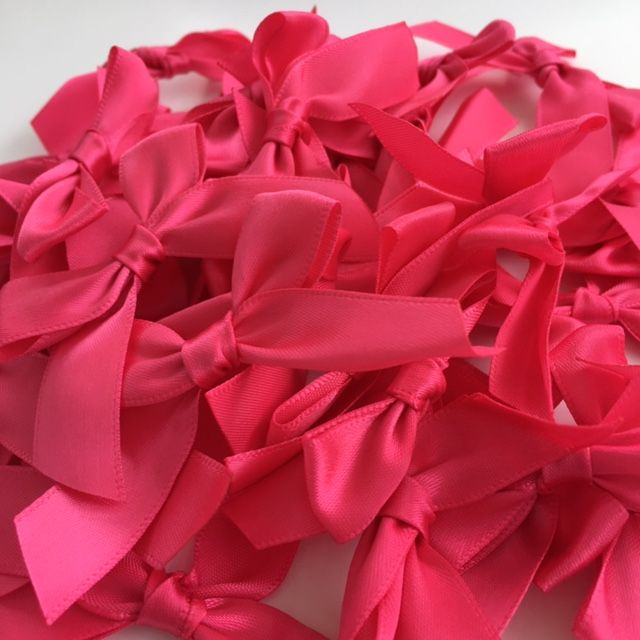 Shocking Pink Satin Large 15mm Ribbon Bows