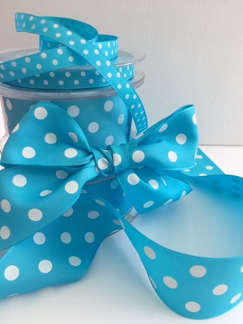 Turquoise Blue & White Polka Dot Ribbon