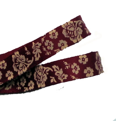 Wine /Beige Luxury Printed Rose Satin Ribbon