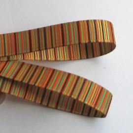 Yellow Brown Striped Grosgrain 9mm Ribbon - 2 Metres