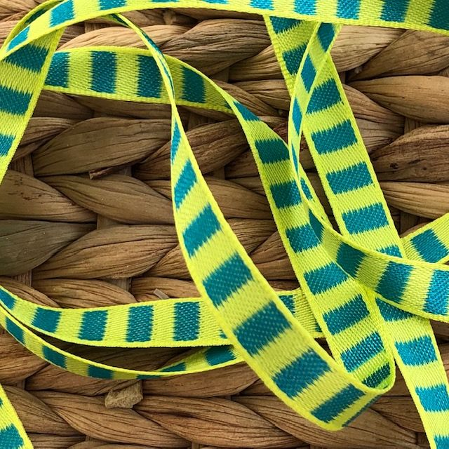 Yellow & Jade Green Woven Striped Ribbon 10mm