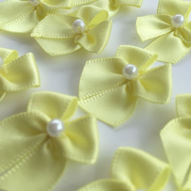 Yellow  Satin Bow with Pearl
