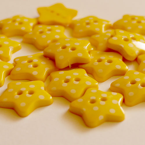 Yellow Star Polka Dot Spotty Buttons